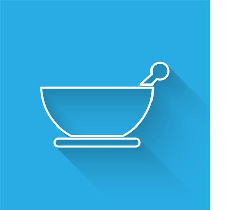 White line Mortar and pestle icon isolated with long shadow. Vector Illustration 矢量图像