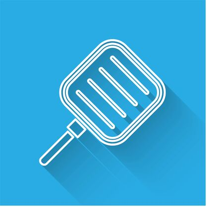 White line Frying pan icon isolated with long shadow. Fry or roast food symbol. Vector Illustration