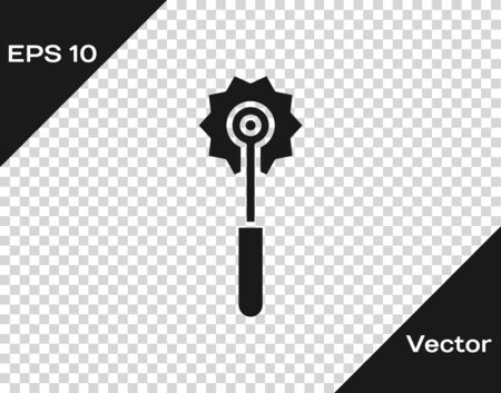 Grey Pizza knife icon isolated on transparent background. Pizza cutter sign. Steel kitchenware equipment. Vector Illustration