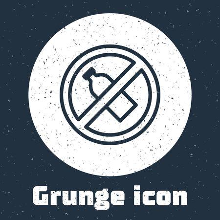 Grunge line No plastic bottle icon isolated on grey background. Monochrome vintage drawing. Vector Illustration Ilustração