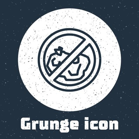 Grunge line No trash icon isolated on grey background. Monochrome vintage drawing. Vector Illustration