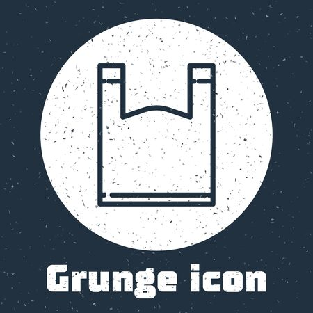 Grunge line Plastic bag icon isolated on grey background. Disposable cellophane and polythene package prohibition sign. Monochrome vintage drawing. Vector Illustration