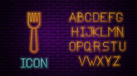 Glowing neon line Disposable plastic fork icon isolated on brick wall background. Neon light alphabet. Vector Illustration Ilustração