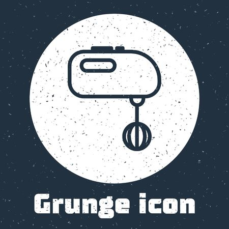 Grunge line Electric mixer icon isolated on grey background. Kitchen blender. Monochrome vintage drawing. Vector Illustration