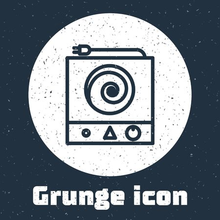 Grunge line Electric stove icon isolated on grey background. Cooktop sign. Hob with four circle burners. Monochrome vintage drawing. Vector Illustration Vettoriali