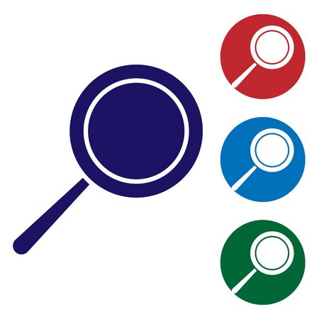 Blue Frying pan icon isolated on white background. Fry or roast food symbol. Set color icons in circle buttons. Vector Illustration