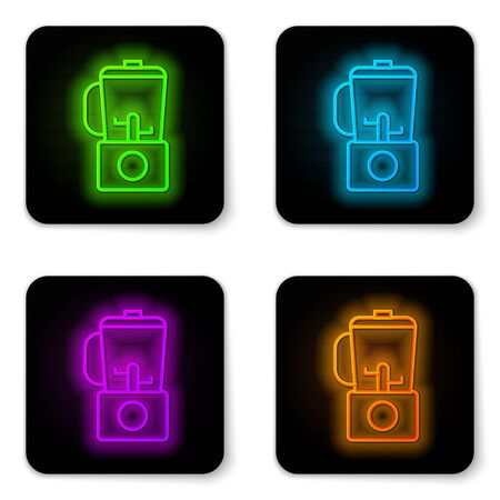 Glowing neon line Blender icon isolated on white background. Kitchen electric stationary blender with bowl. Cooking smoothies, cocktail or juice. Black square button. Vector Illustration