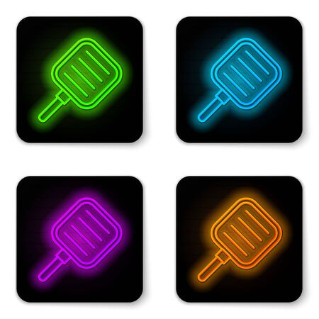 Glowing neon line Frying pan icon isolated on white background. Fry or roast food symbol. Black square button. Vector Illustration Ilustração