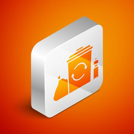 Isometric Recycle bin with recycle symbol icon isolated on orange background. Trash can icon. Garbage bin sign. Recycle basket. Silver square button. Vector Illustration