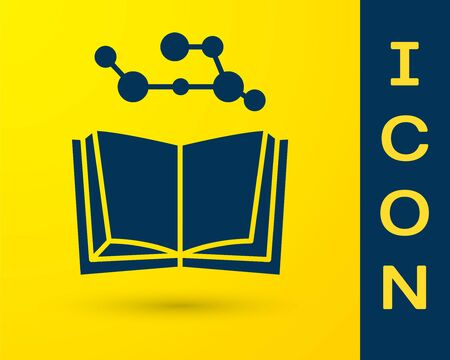 Blue Open book icon isolated on yellow background. Vector Illustration