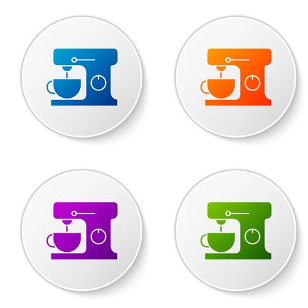Color Electric mixer icon isolated on white background. Kitchen blender. Set icons in circle buttons. Vector Illustration