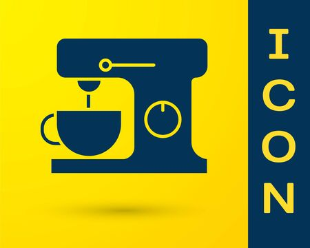 Blue Electric mixer icon isolated on yellow background. Kitchen blender. Vector Illustration Ilustracja