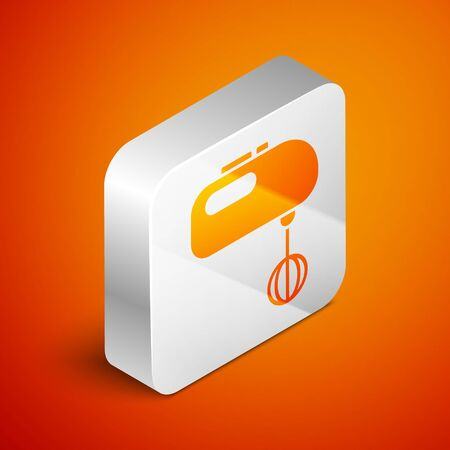 Isometric Electric mixer icon isolated on orange background. Kitchen blender. Silver square button. Vector Illustration Ilustracja