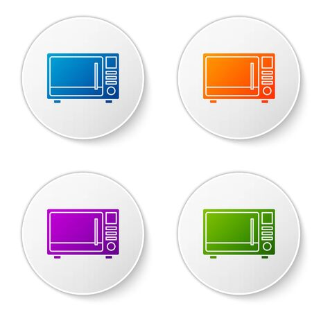 Color Microwave oven icon isolated on white background. Home appliances icon. Set icons in circle buttons. Vector Illustration