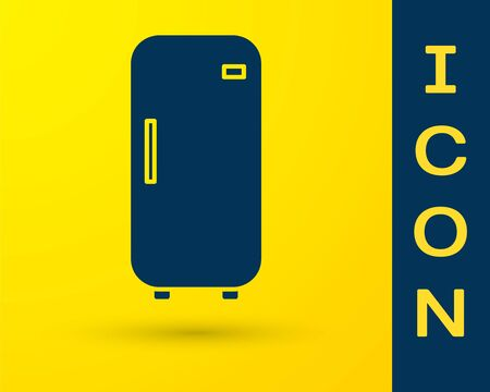 Blue Refrigerator icon isolated on yellow background. Fridge freezer refrigerator. Household tech and appliances. Vector Illustration