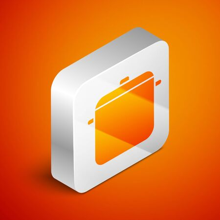 Isometric Cooking pot icon isolated on orange background. Boil or stew food symbol. Silver square button. Vector Illustration  イラスト・ベクター素材