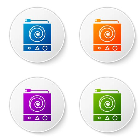 Color Electric stove icon isolated on white background. Cooktop sign. Hob with four circle burners. Set icons in circle buttons. Vector Illustration