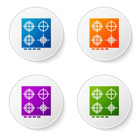 Color Gas stove icon isolated on white background. Cooktop sign. Hob with four circle burners. Set icons in circle buttons. Vector Illustration