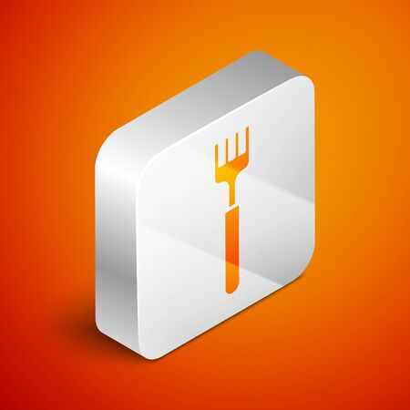 Isometric Fork icon isolated on orange background. Cutlery symbol. Silver square button. Vector Illustration