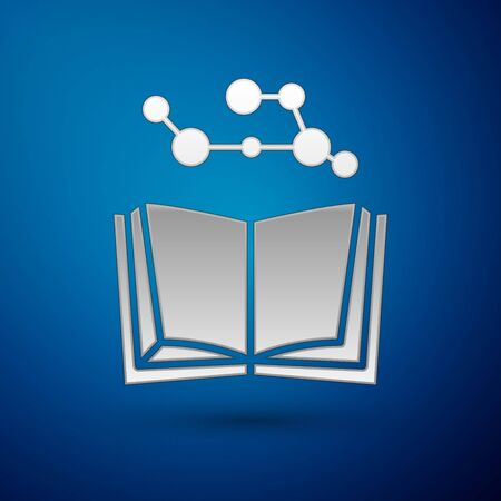 Silver Open book icon isolated on blue background. Vector Illustration Ilustracja