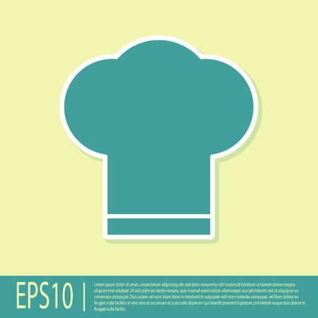 Green Chef hat icon isolated on yellow background. Cooking symbol. Cooks hat. Vector Illustration