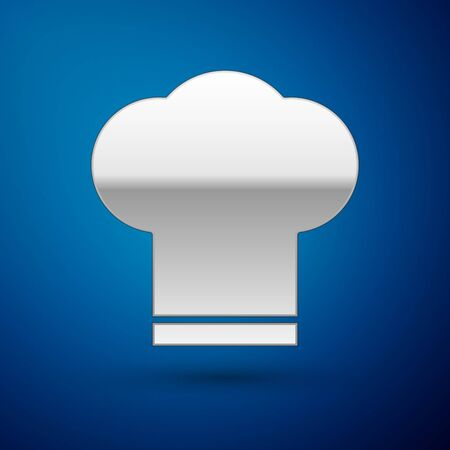 Silver Chef hat icon isolated on blue background. Cooking symbol. Cooks hat. Vector Illustration