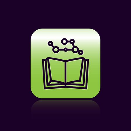 Black line Open book icon isolated on black background. Green square button. Vector Illustration