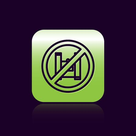 Black line Say no to plastic bags poster icon isolated on black background. Disposable cellophane and polythene package prohibition sign. Green square button. Vector Illustration