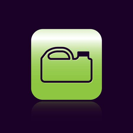 Black line Plastic canister for motor machine oil icon isolated on black background. Oil gallon. Oil change service and repair. Green square button. Vector Illustration Ilustrace
