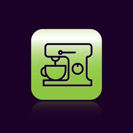 Black line Electric mixer icon isolated on black background. Kitchen blender. Green square button. Vector Illustration
