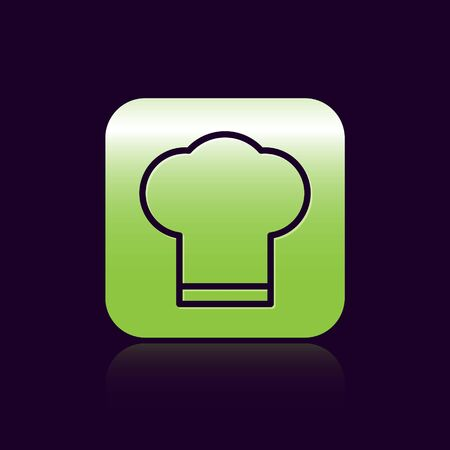 Black line Chef hat icon isolated on black background. Cooking symbol. Cooks hat. Green square button. Vector Illustration