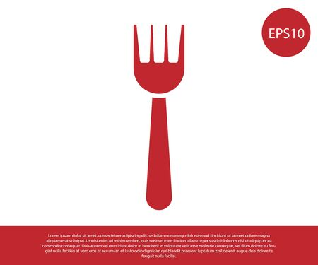Red Disposable plastic fork icon isolated on white background. Vector Illustration