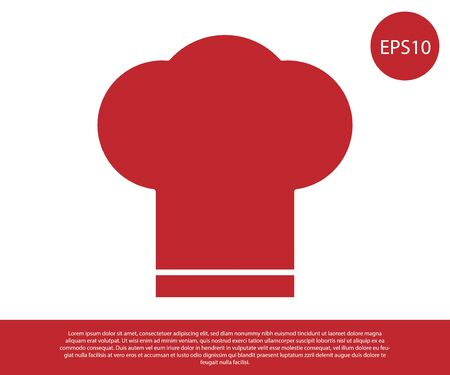 Red Chef hat icon isolated on white background. Cooking symbol. Cooks hat. Vector Illustration