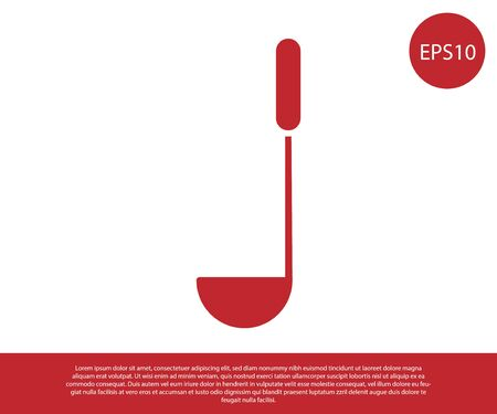 Red Kitchen ladle icon isolated on white background. Cooking utensil. Cutlery spoon sign. Vector Illustration