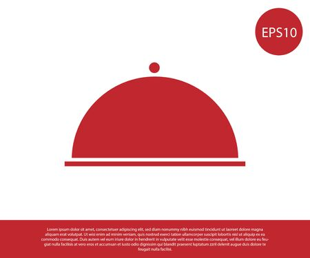 Red Covered with a tray of food icon isolated on white background. Tray and lid. Restaurant cloche with lid. Kitchenware symbol. Vector Illustration