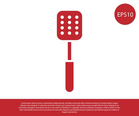 Red Spatula icon isolated on white background. Kitchen spatula icon. BBQ spatula sign. Barbecue and grill tool. Vector Illustration
