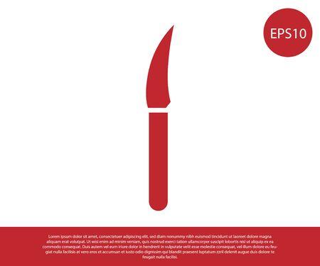 Red Knife icon isolated on white background. Cutlery symbol. Vector Illustration Ilustracja