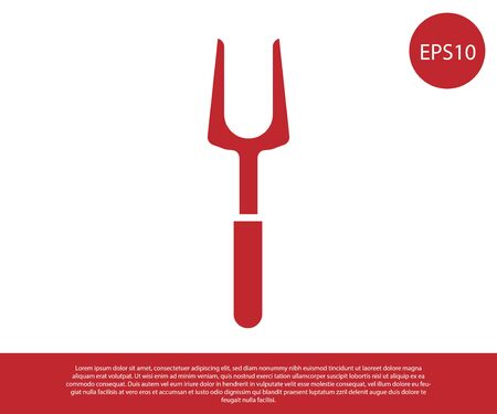 Red Barbecue fork icon isolated on white background. BBQ fork sign. Barbecue and grill tool. Vector Illustration Ilustracja