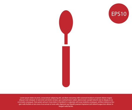 Red Spoon icon isolated on white background. Cooking utensil. Cutlery sign. Vector Illustration