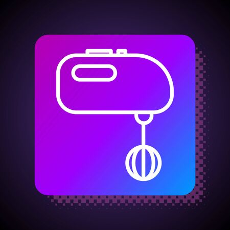 White line Electric mixer icon isolated on black background. Kitchen blender. Square color button. Vector Illustration