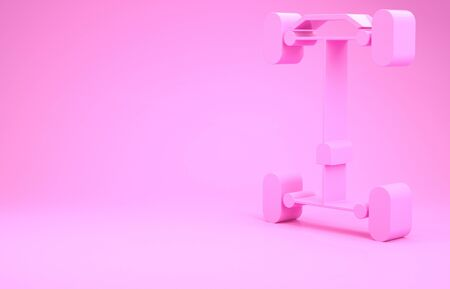 Pink Chassis car icon isolated on pink background. Minimalism concept. 3d illustration 3D render