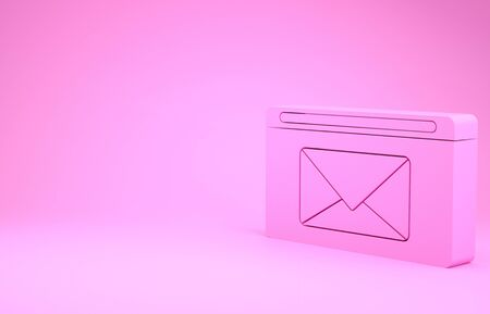 Pink Mail and e-mail icon isolated on pink background. Envelope symbol e-mail. Email message sign. Minimalism concept. 3d illustration 3D render 版權商用圖片