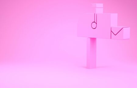 Pink Open mail box icon isolated on pink background. Mailbox icon. Mail postbox on pole with flag. Minimalism concept. 3d illustration 3D render 版權商用圖片