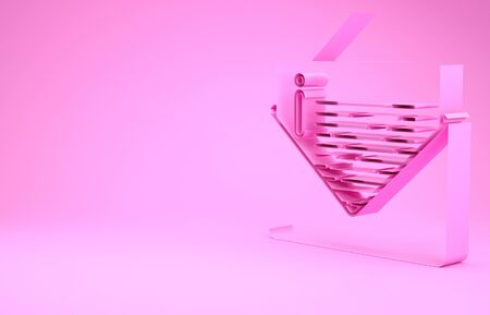 Pink Envelope icon isolated on pink background. Email message letter symbol. Minimalism concept. 3d illustration 3D render 版權商用圖片
