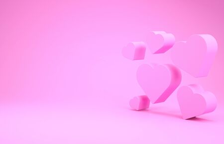 Pink Heart icon isolated on pink background. Romantic symbol linked, join, passion and wedding. Valentine day symbol. Minimalism concept. 3d illustration 3D render