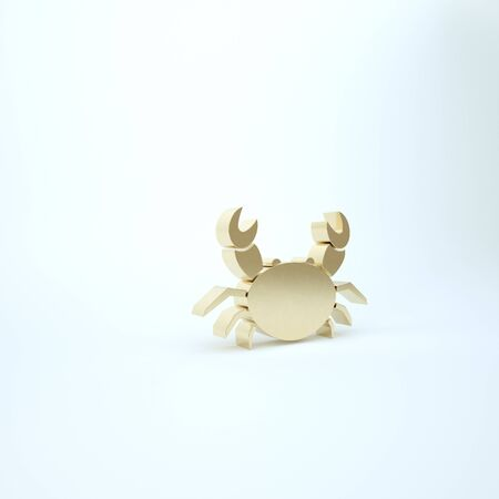 Gold Crab icon isolated on white background. 3d illustration 3D render