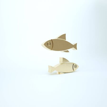 Gold Fish icon isolated on white background. 3d illustration 3D render 写真素材