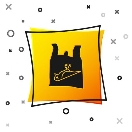 Black Dead bird, plastic icon isolated on white background. Element of pollution problems sign. Yellow square button. Vector Illustration