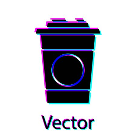 Black Paper glass icon isolated on white background. Soda drink glass. Fresh cold beverage symbol.  Vector Illustration  イラスト・ベクター素材
