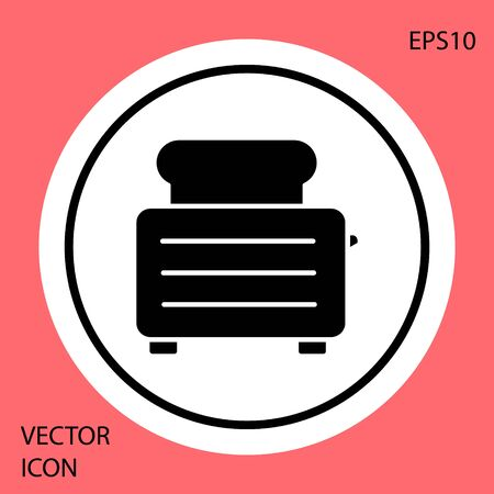 Black Toaster with toasts icon isolated on red background. White circle button. Vector Illustration